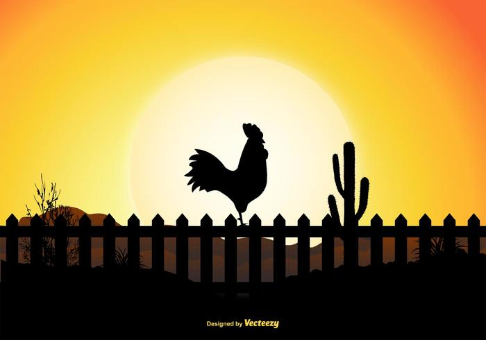 Rooster Silhouette Scene
