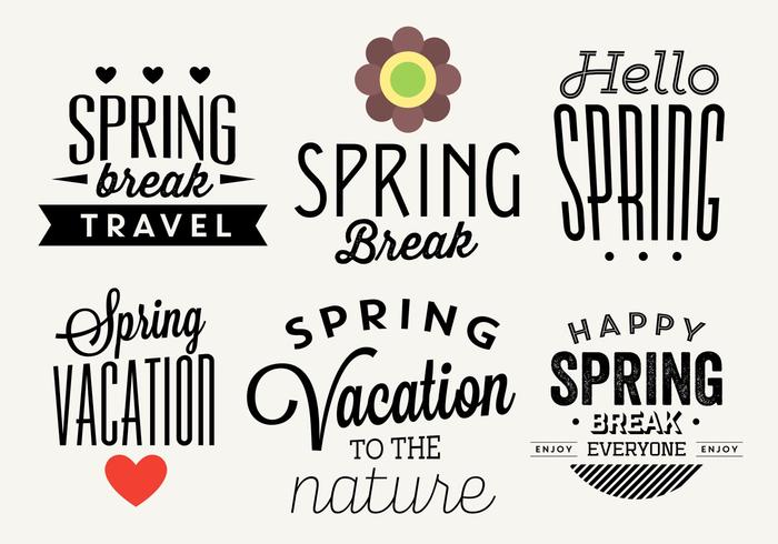 Typographic Spring Vector Labels