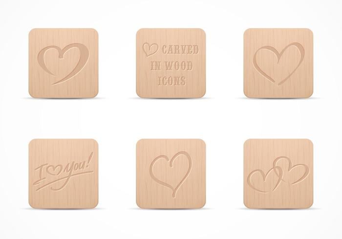 Free Heart Carved In Wood Vector Icon Set