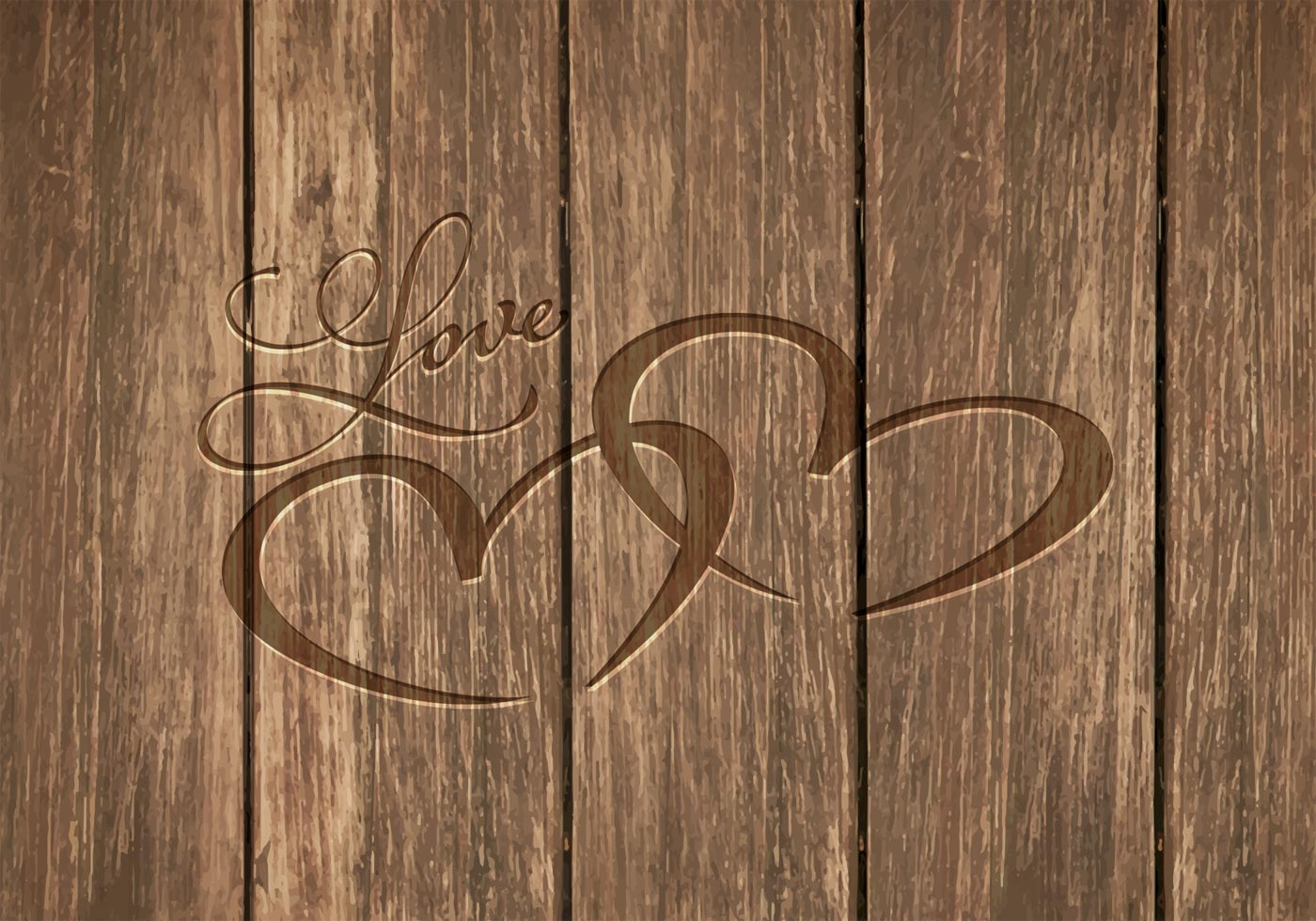 Free Heart Carved In Wood Vector Background Download