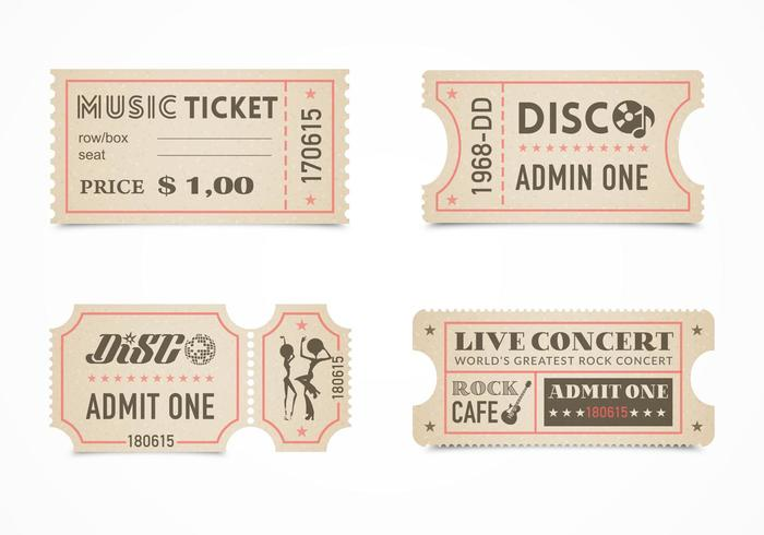 Retro Concert Ticket Stub Vector Set