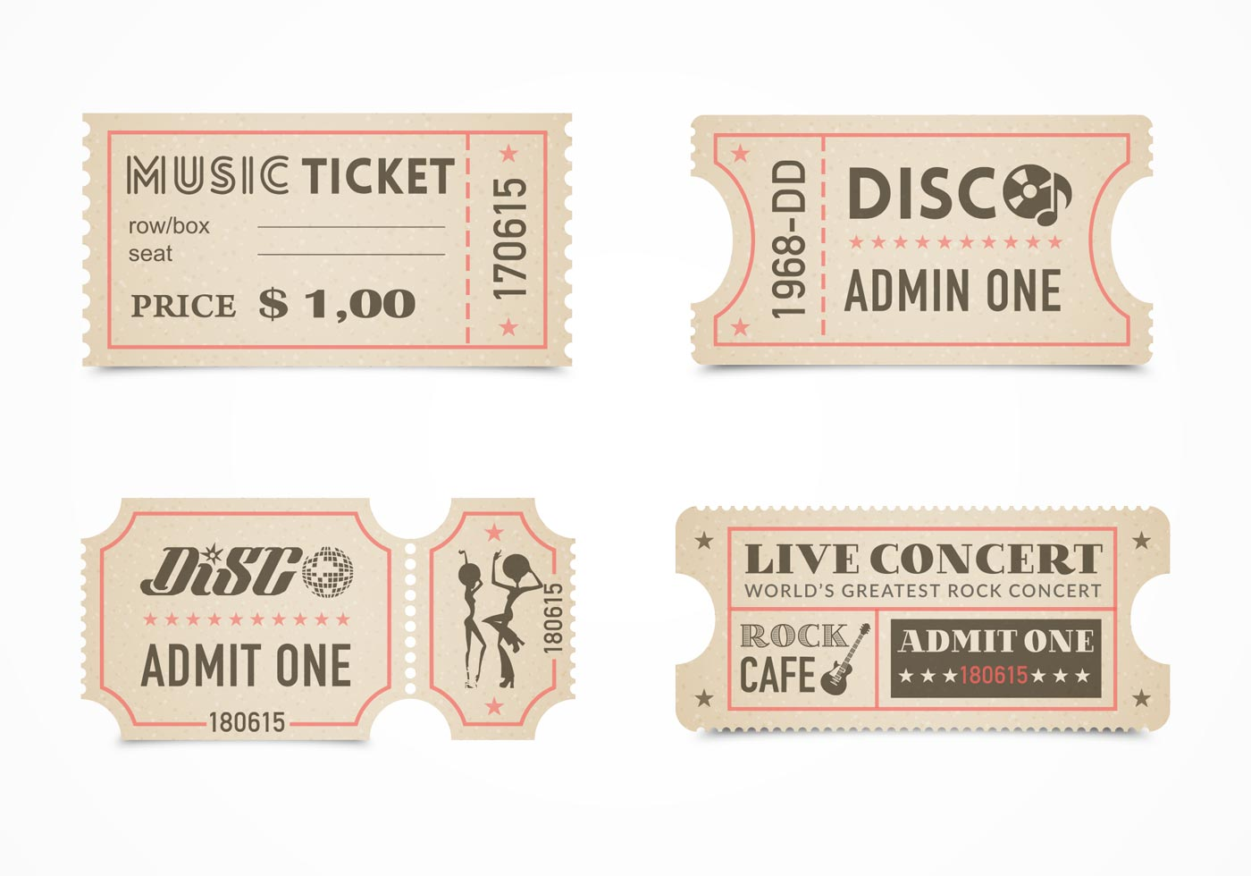 Retro concert ticket stub vector set download free for Template for tickets with stubs