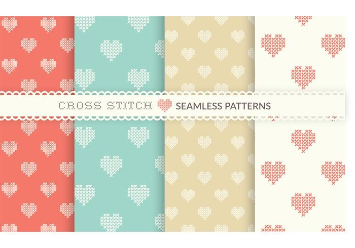 Free Cross Stitch Heart Seamless Vector Patterns