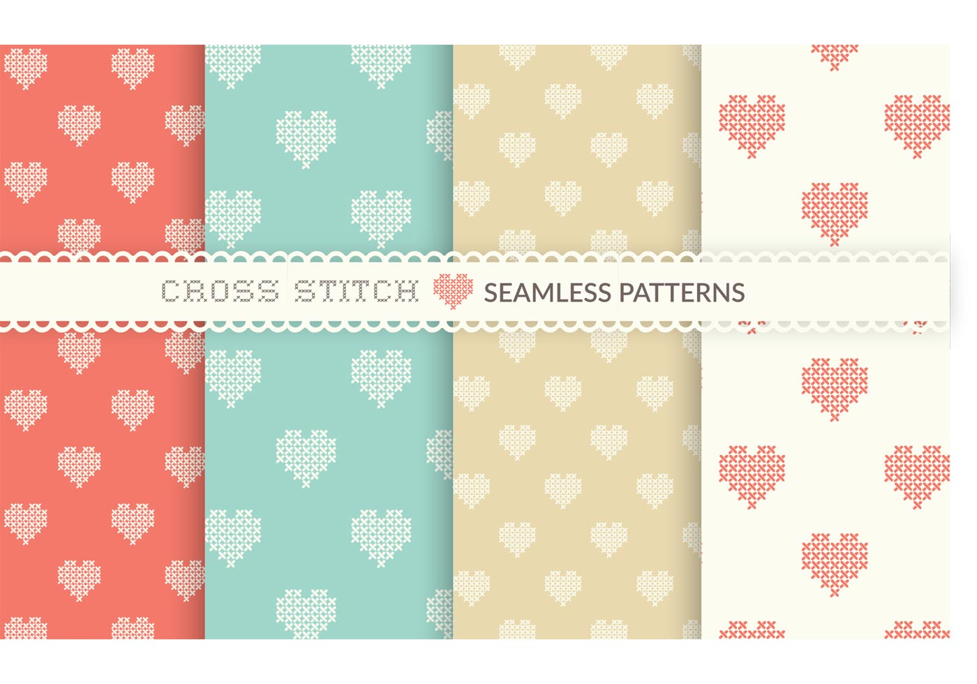 Free Cross Stitch Heart Seamless Vector Patterns Download Free