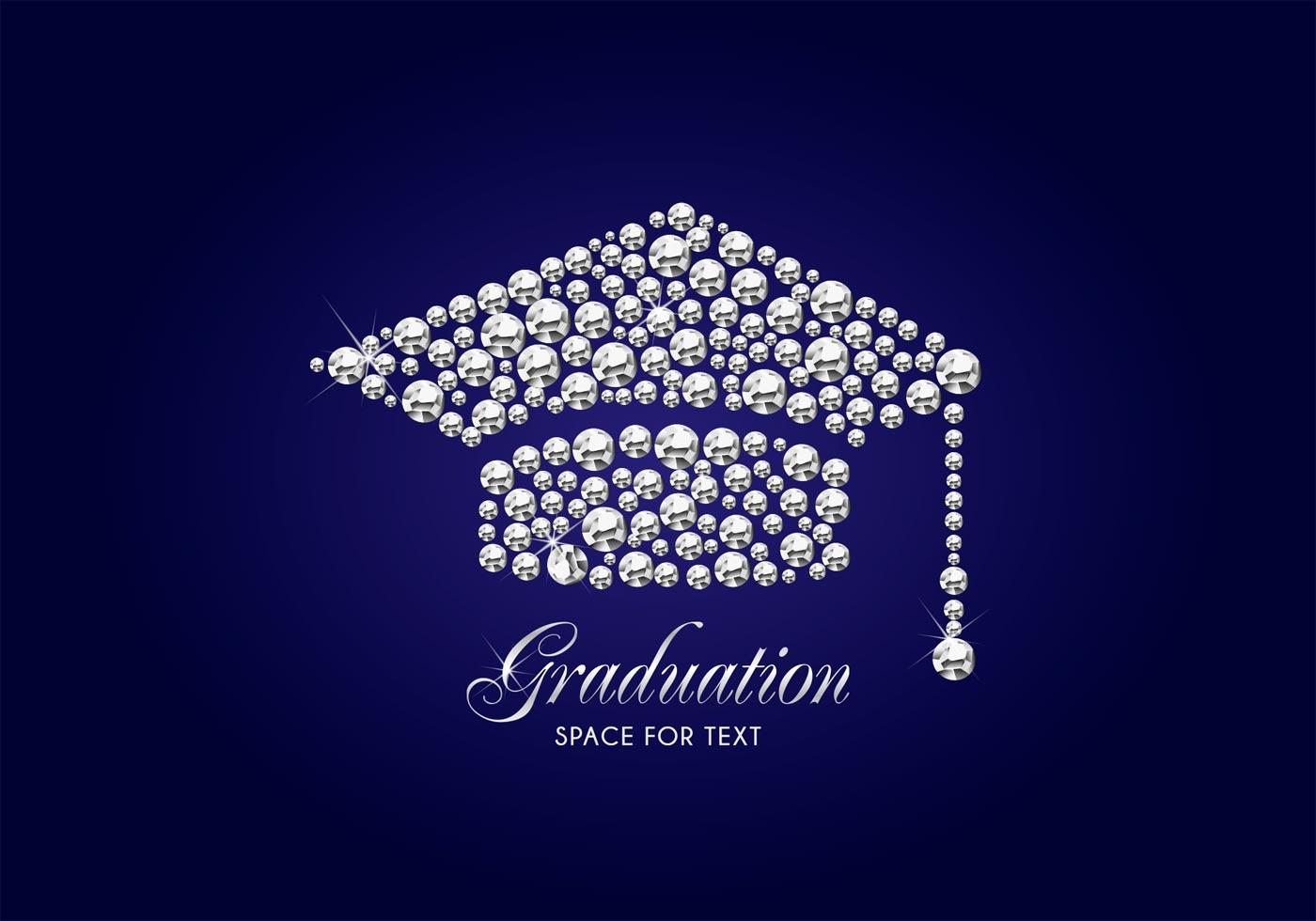 diamond graduation cap vector background