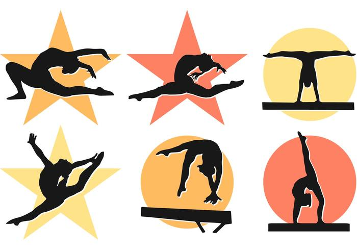 Women Girl Gymnastics Silhouettes Vectors