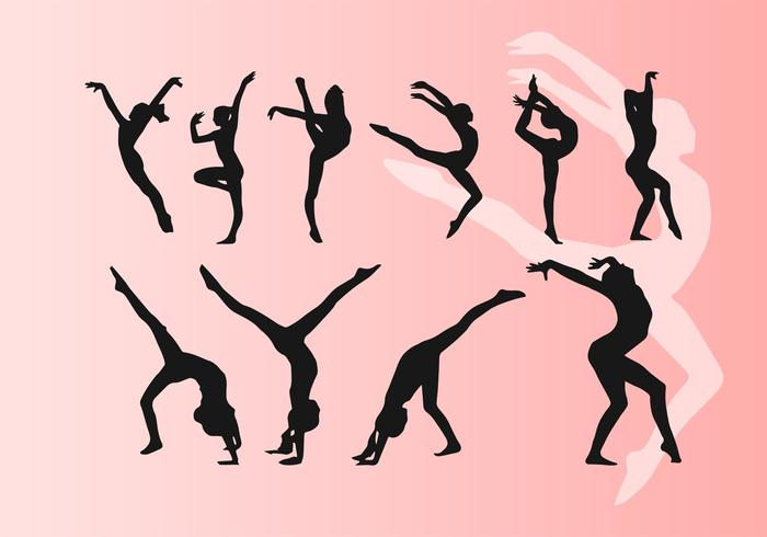 Girl Doing Artistic Dancing Gymnastics Silhouettes Vectors