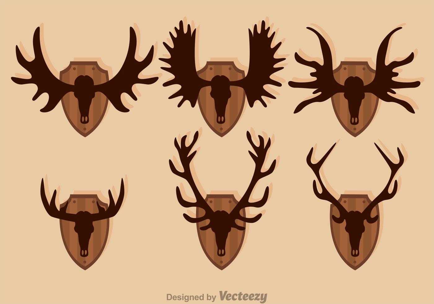 moose and deer hunting trophy vectors download free deer antler vector art download deer antler vector art