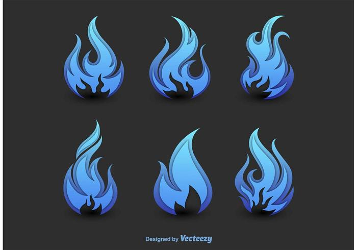 Abstract Blue Fire Silhouettes