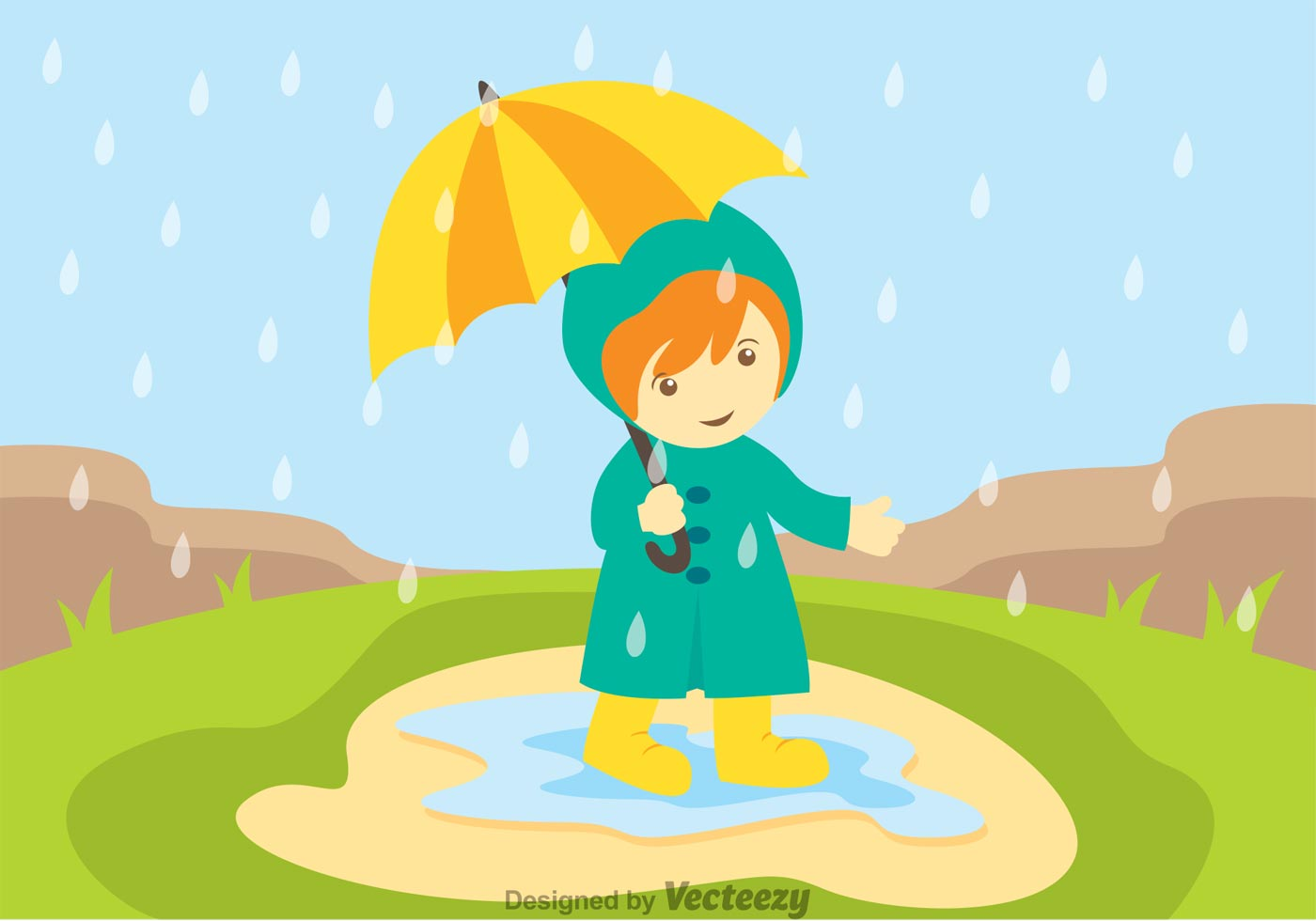Little Girl In Spring Showers Download Free Vector Art