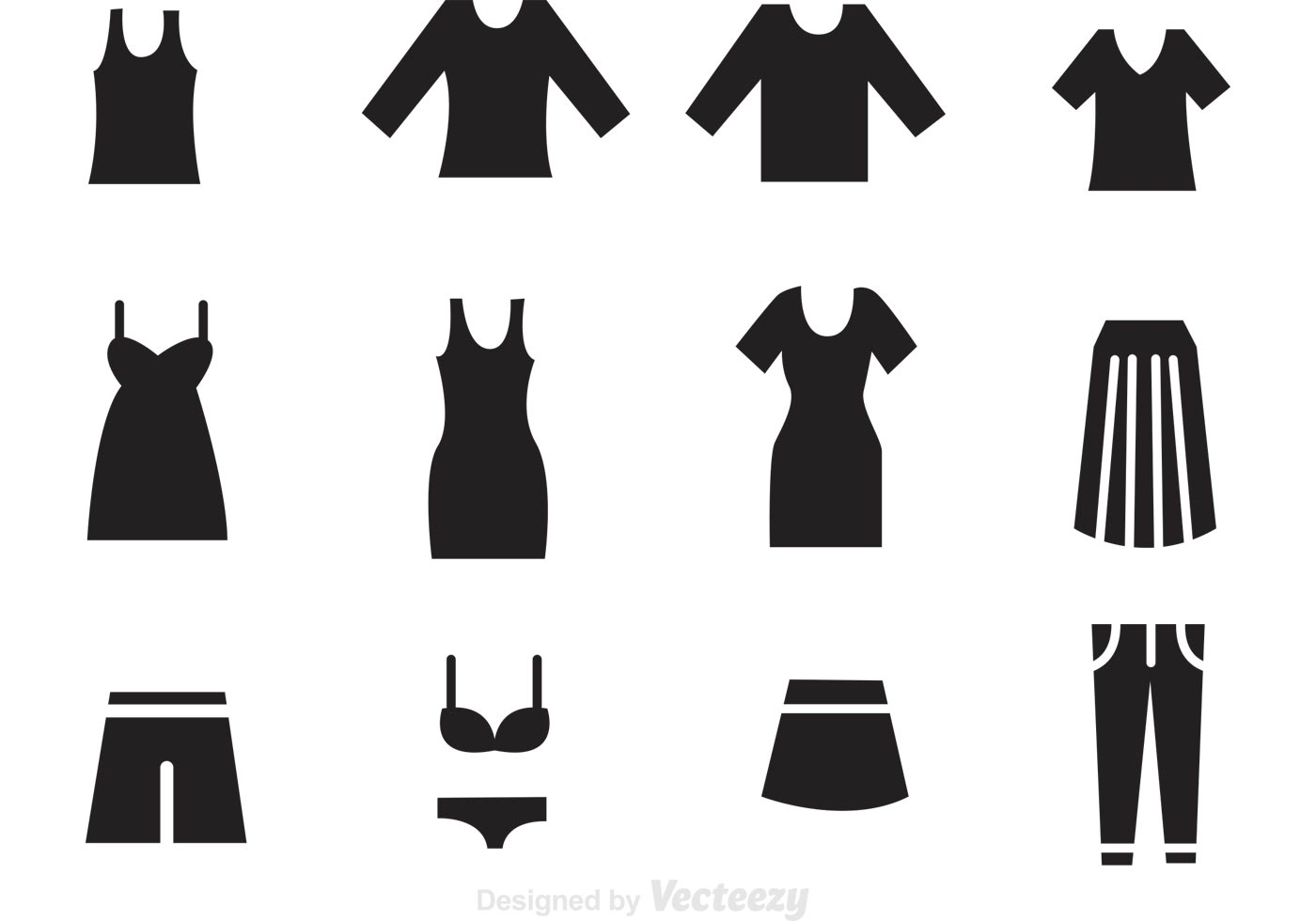 iconos negro de la ropa de la mujer