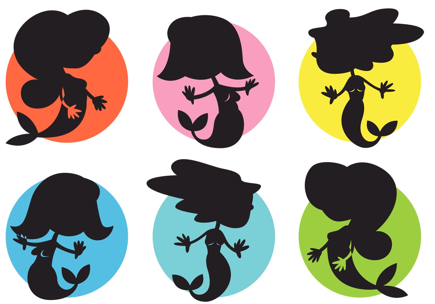 Cartoon Mermaids Vector Silhouettes Illustrations Free ...