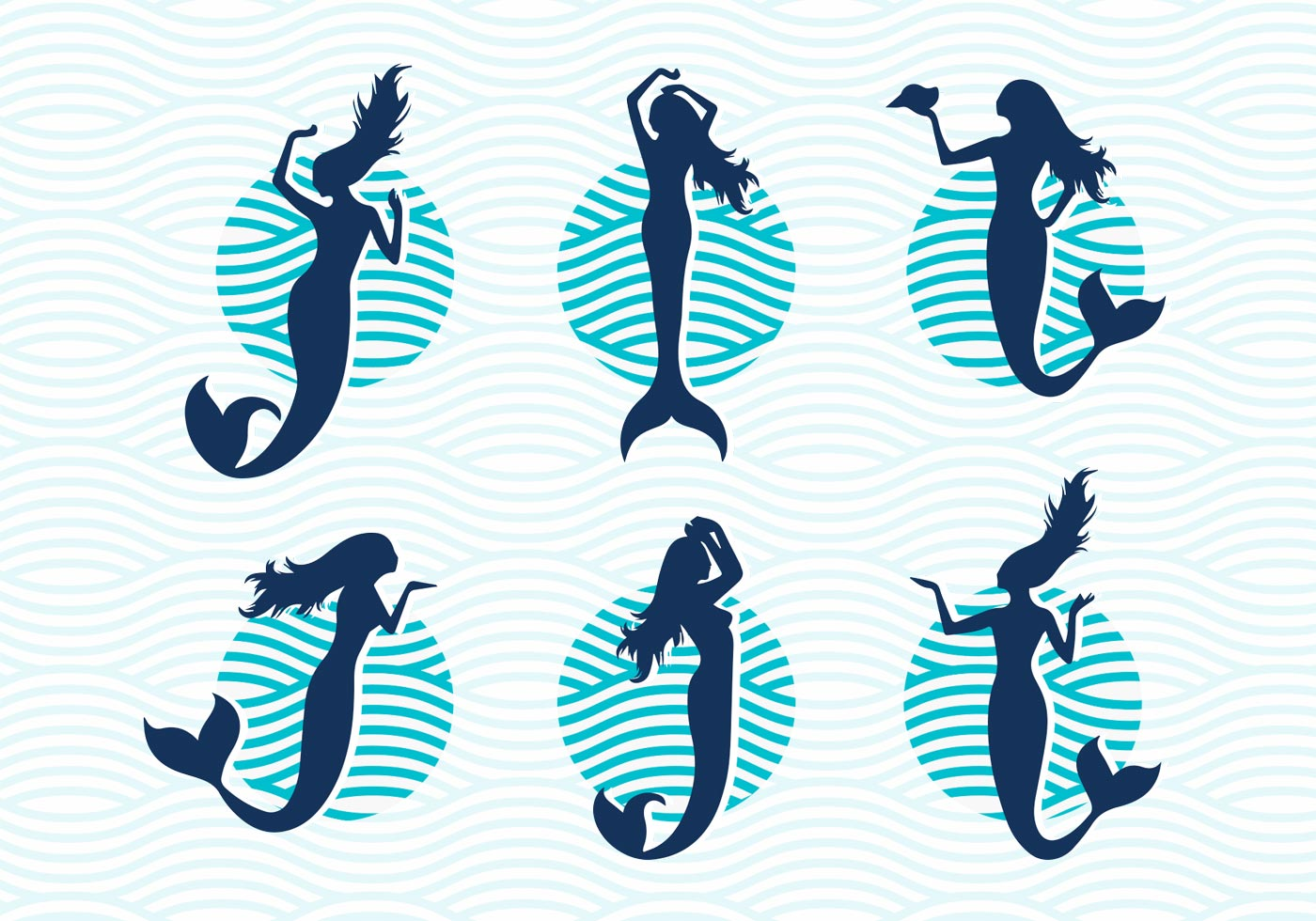 mermaids vector silhouettes illustrations free download free