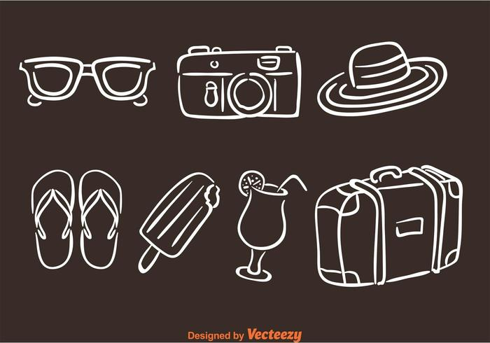Hand Drawn Summer Vacation Icons vector