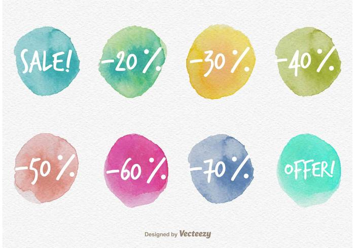Watercolored Sale Discount Labels