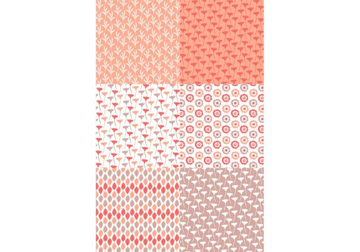 Pastel Red Floral Pattern Set vector