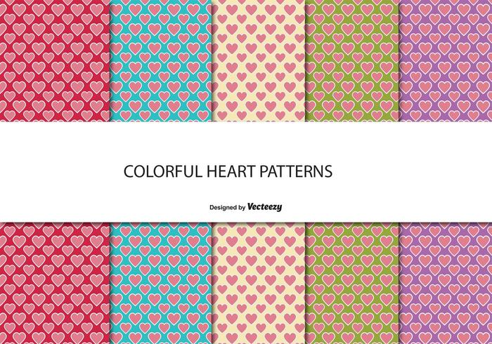 Cute patrón de corazón conjunto - Descargue Gráficos y Vectores Gratis