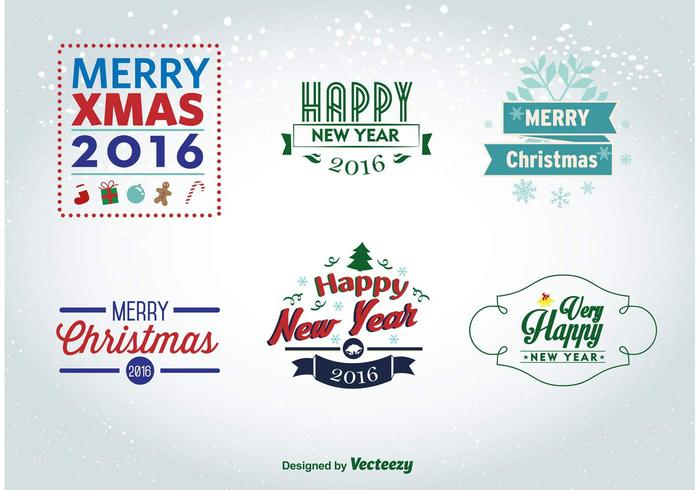 Christmas and New Year 2016 labels