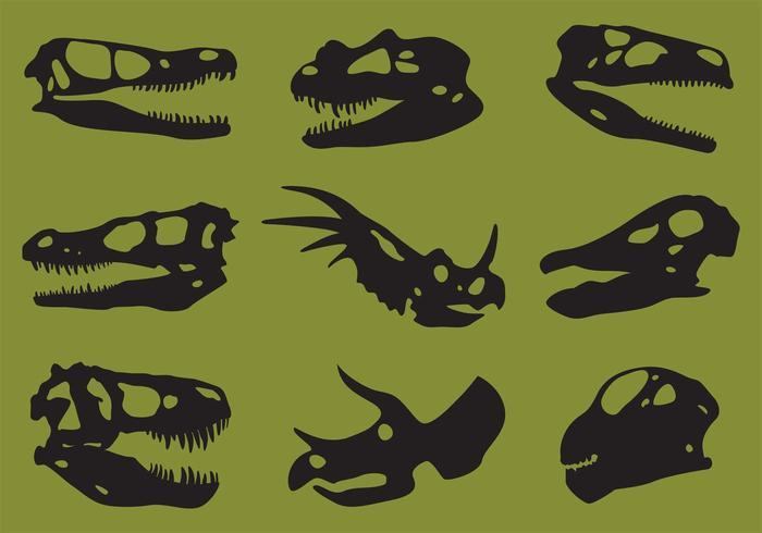 Vectores de la silueta del cráneo del dinosaur