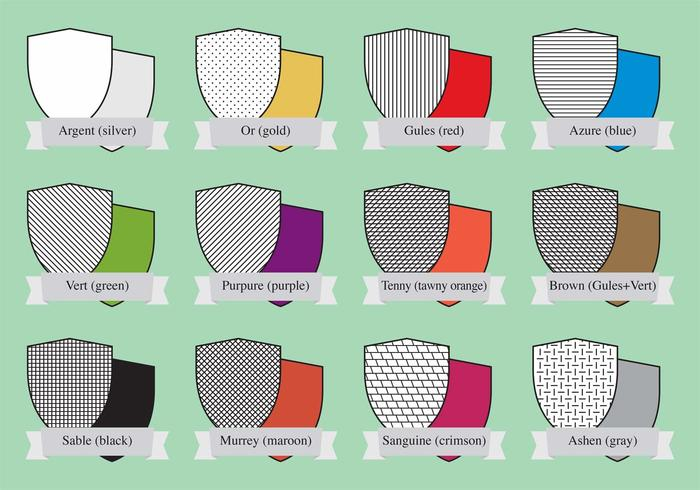 Escudos de color heráldico vector