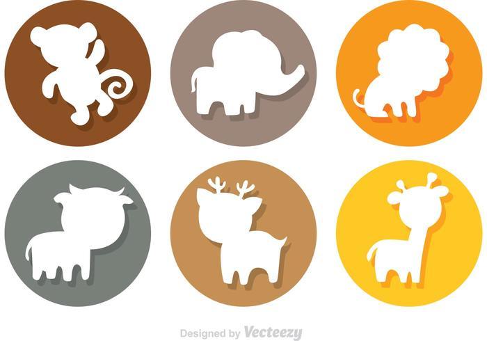 Animal Cartoon Silhouette Circle Icons