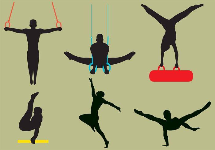 Vector Male Gymnast Silhouettes