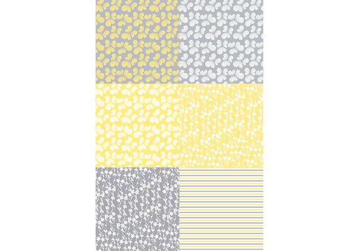 Yellow Flora Patterns vector
