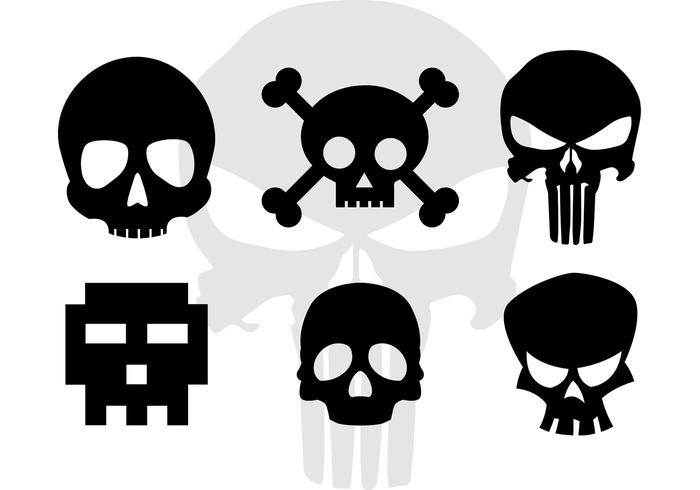 Skull Vector Cartoonish Skull Silhouettes