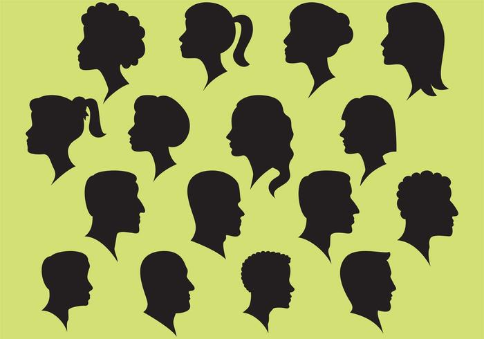 Woman And Man And Silhouette Vectors