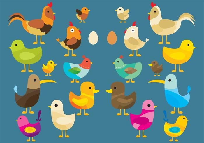 Colorful Vector Birds