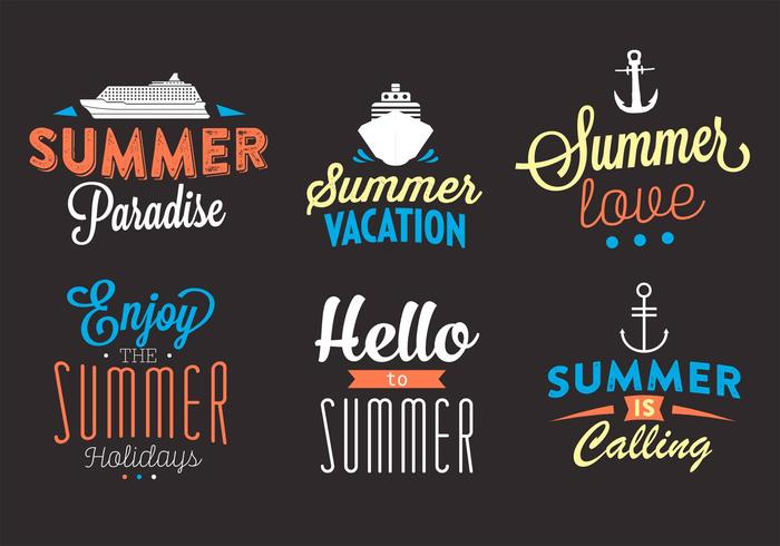 Typographic Backgrounds of Summer Activities in Vector