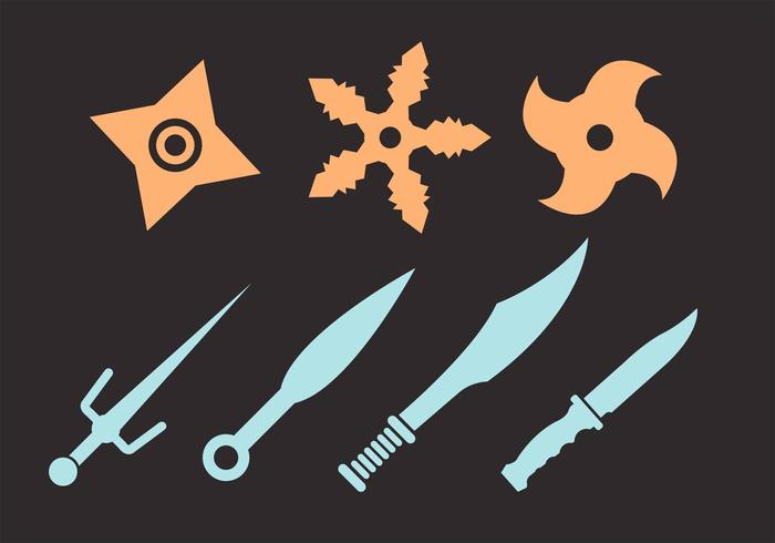 Vector conjunto de Ninja lanzando estrellas y cuchillos