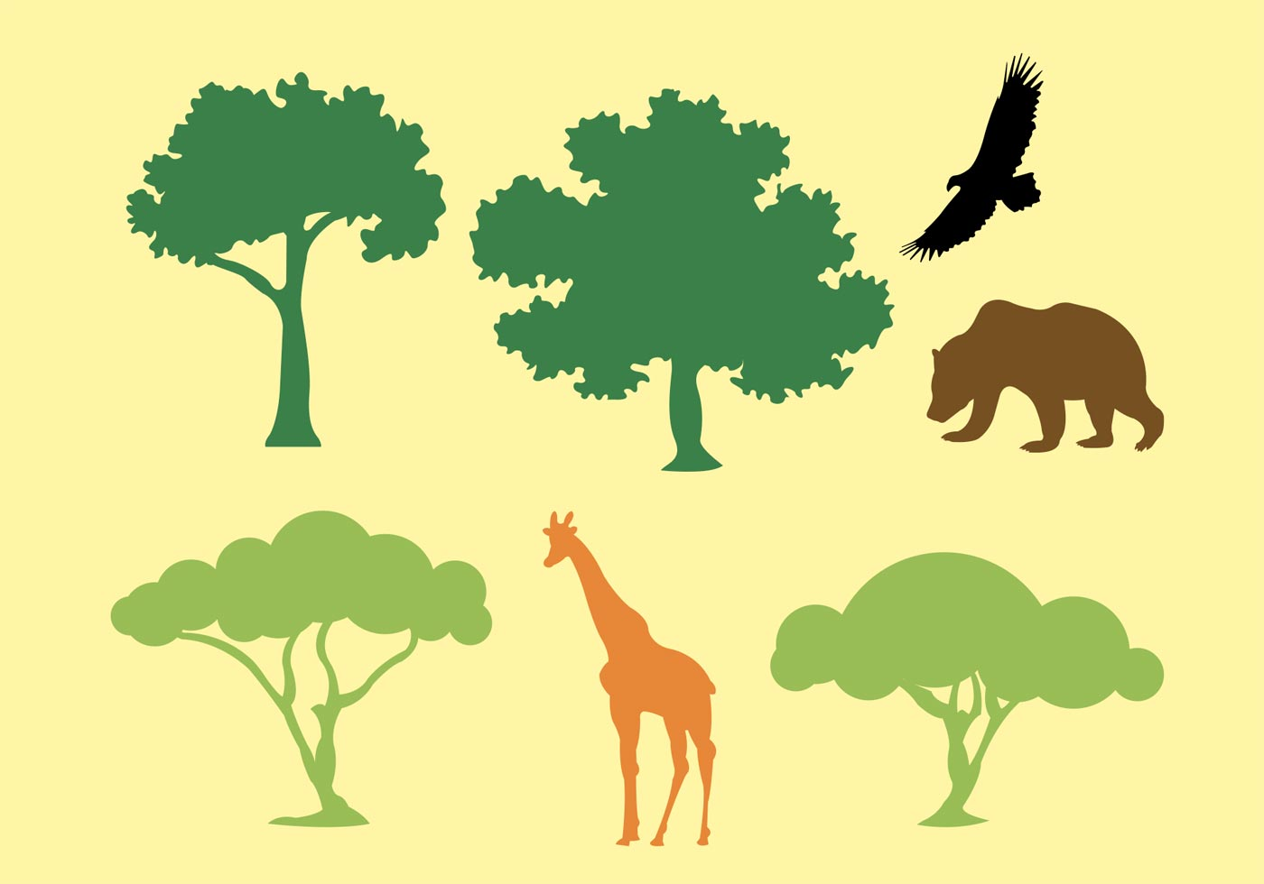 Vector Illustration Tree: Vector Silhouette Of Trees And Animals