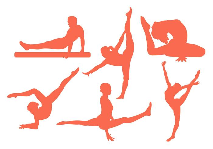 Vector Illustration of Men and Women Doing Gymastics