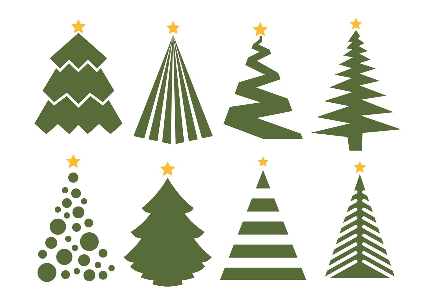 Christmas Tree Vector Set On