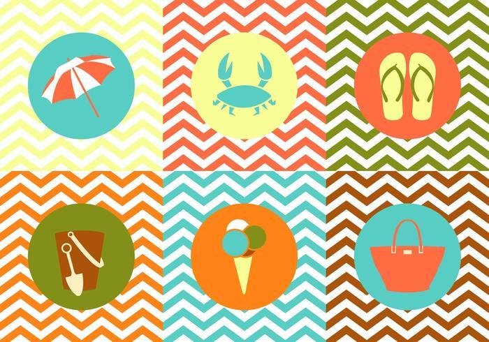Colección de objetos de verano en Zig Zag fondo multicolor