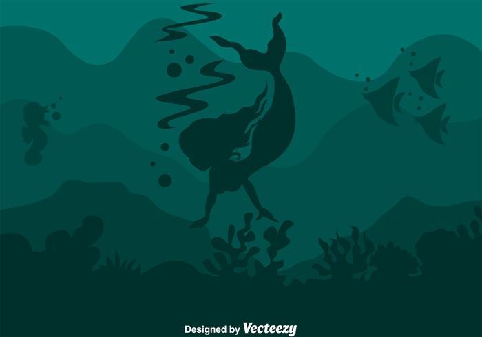 Sirena de natación bajo el agua