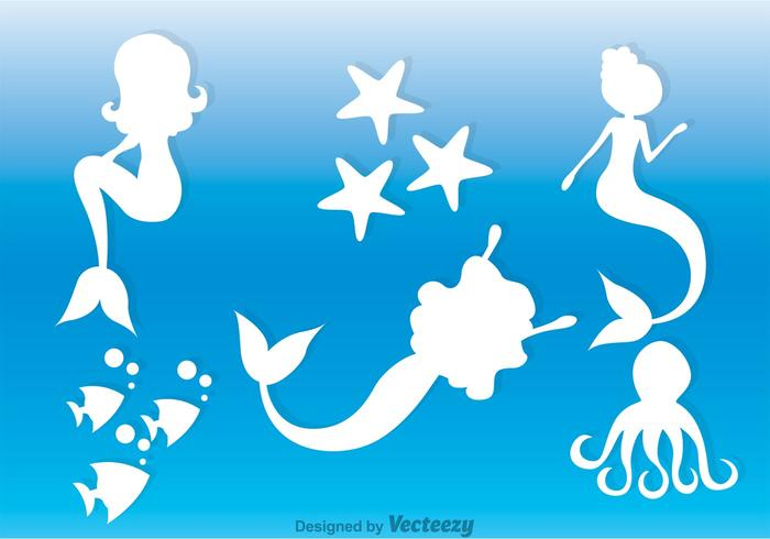 White Mermaids Silhouette