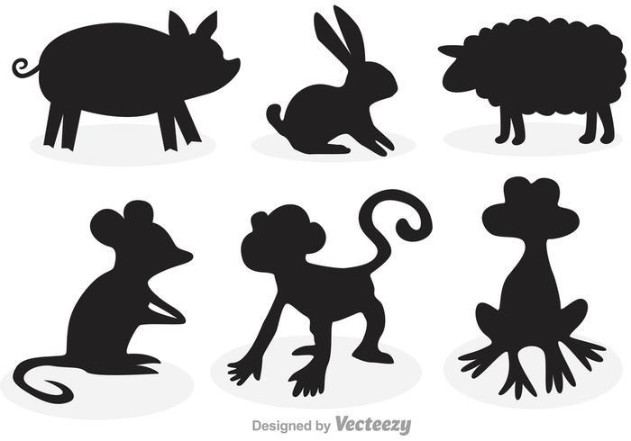 Animales siluetas de dibujos animados vector