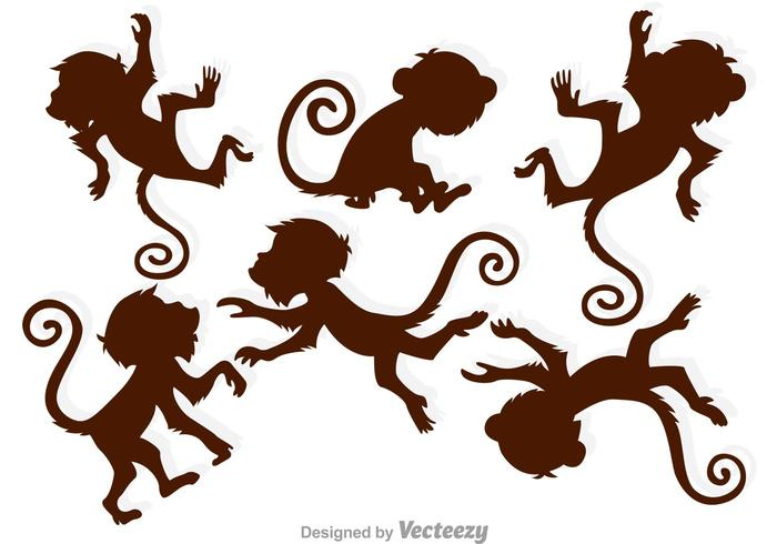 Brown Monkey Silhouettes