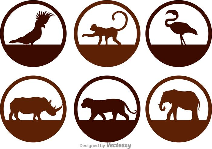 Wild Animals Silhouette Icons vector