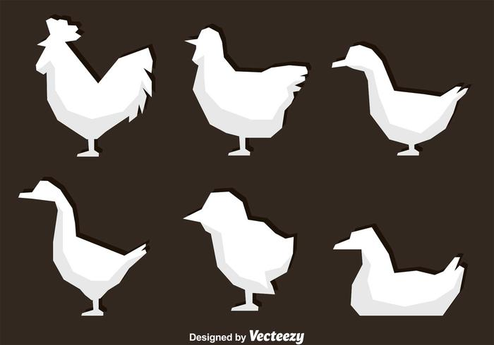 White Polygonal Fowl Icons
