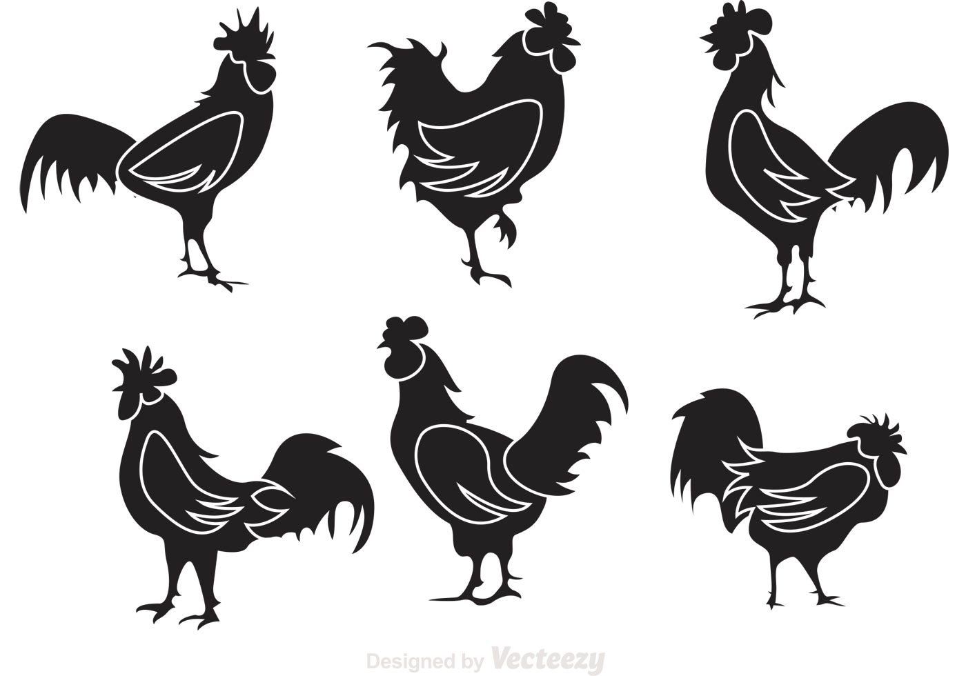 Chicken Svg: Black Rooster Silhouette Vectors