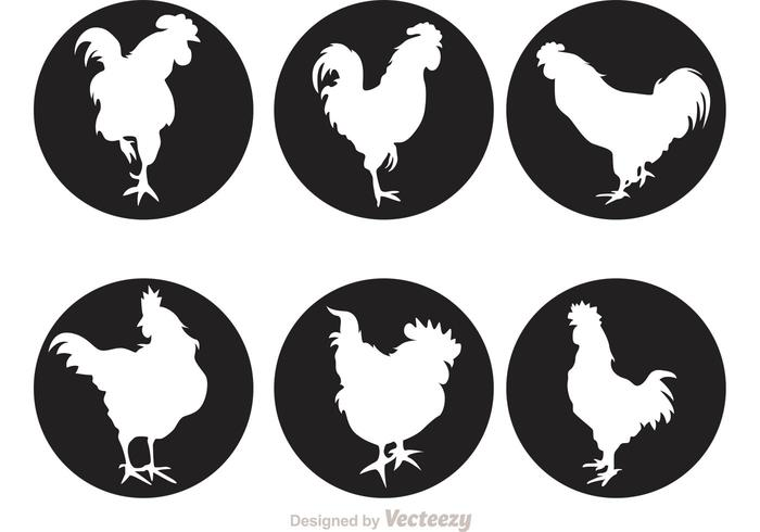 Rooster Silhouette Circle Icons
