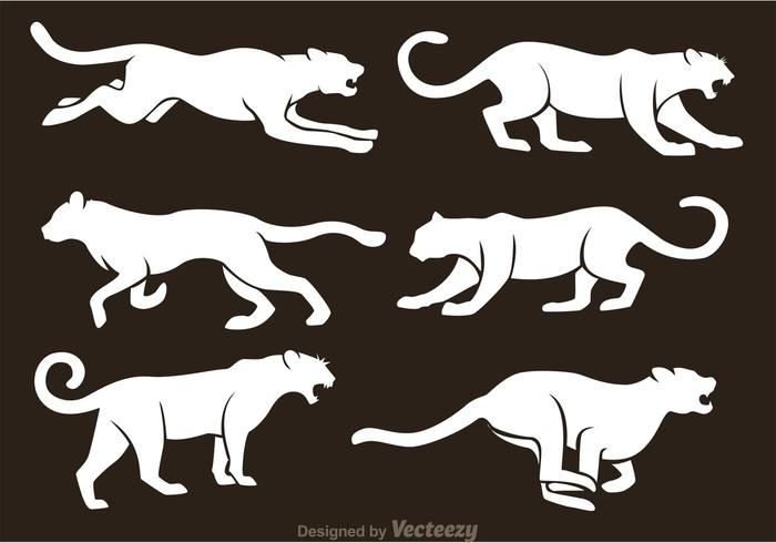 White Tiger Silhouette Vectors