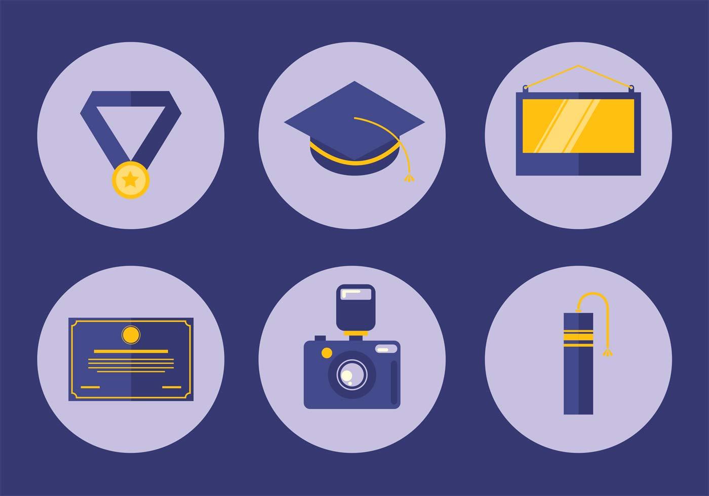 graduation icon vector set download free vector art