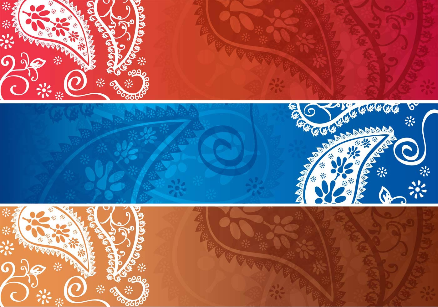 Paisley Design Horizontal Banner Vectors - Download Free ...