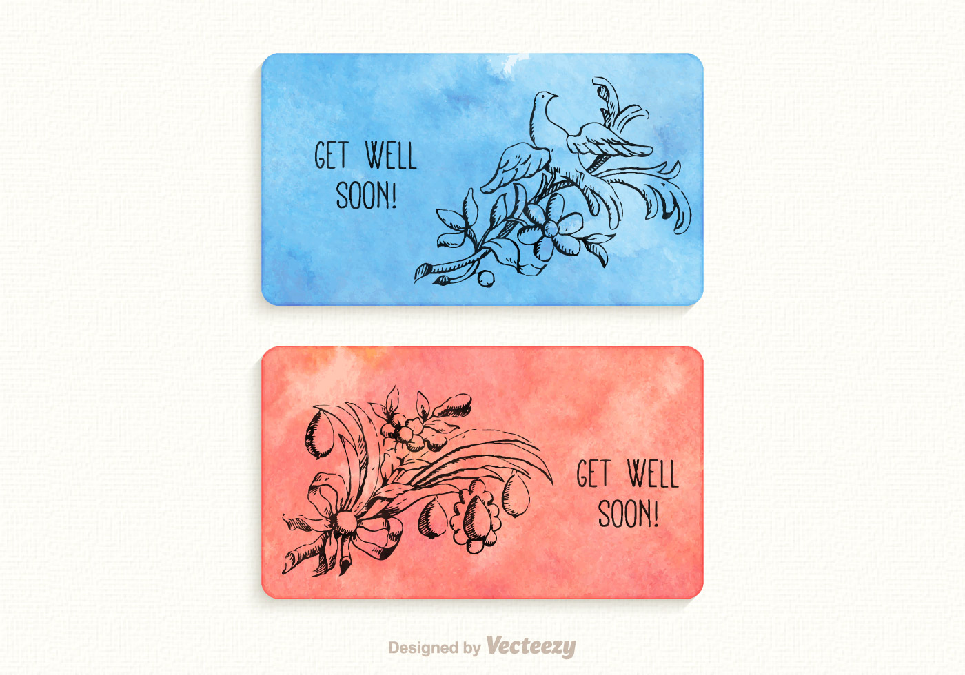 Free Vector Get Well Soon Watercolor Cards - Download Free Vector Art ...