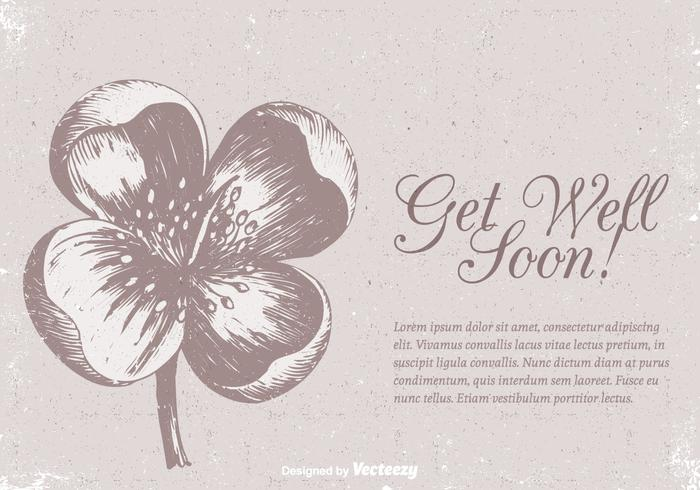 Free Get Well Soon Vector Vintage Card