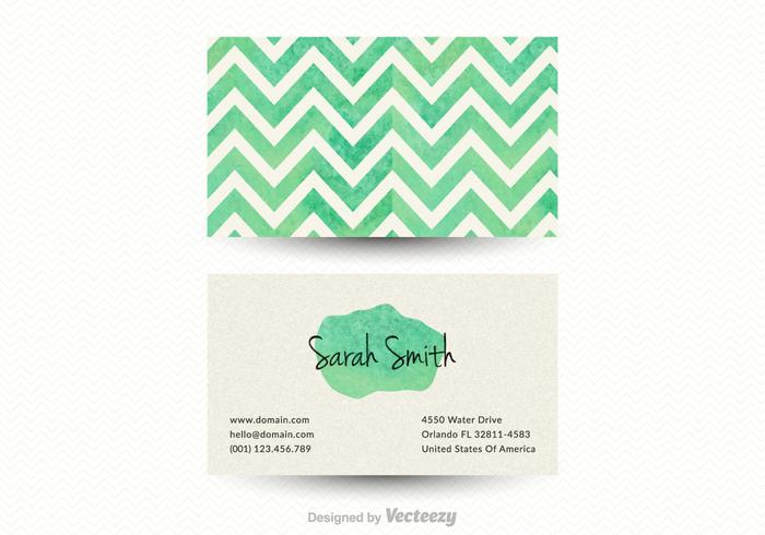 Free Chevron Business Card Vector Template